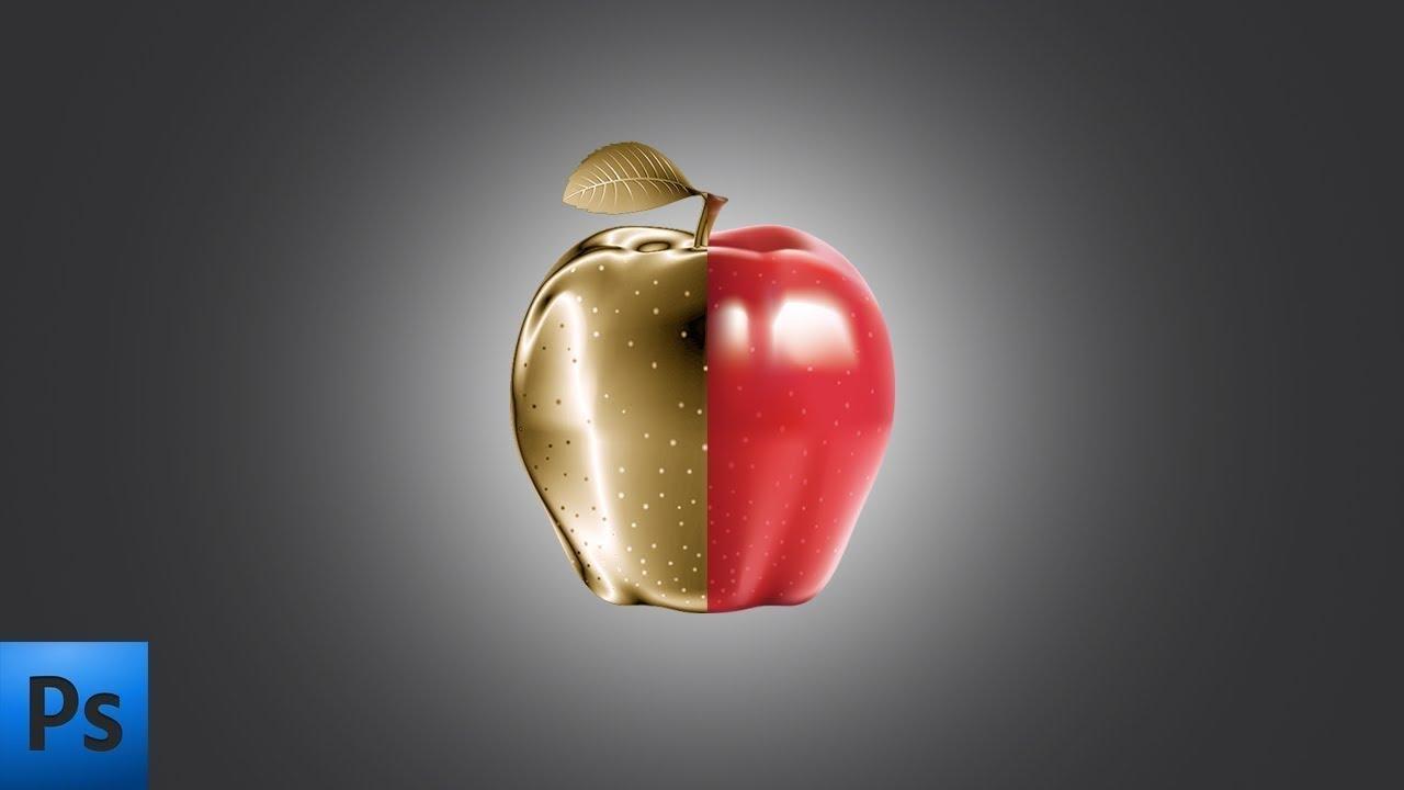 Как сделать золотое яблоко в фотошопе | Уроки фотошопа | How to make a golden apple in Photoshop